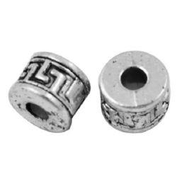 Мънисто метал цилиндър 9x6.5 мм дупка 3.5 мм цвят сребро -10 броя