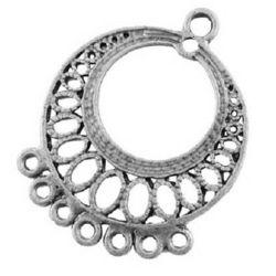 Baza pentru cercei 37,5x29 mm gaură 2,5 mm culoare argintiu - 4 bucăți