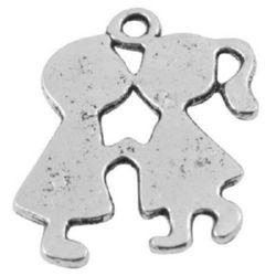 Pandantiv metalic băiat și fată 23x18x1,3 mm gaură 2 mm culoare argint -5 piese