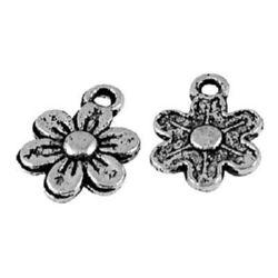 Flori metalice pandantiv 10,5x1,5 mm gaură 1,5 mm culoare argint vechi NF -10 bucăți