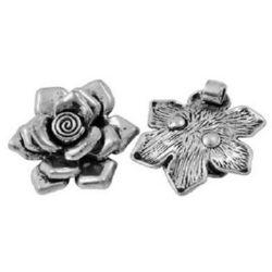 Λουλούδι κρεμαστό 33x8 mm τρύπα 3 mm ασημί -1 τεμάχιο