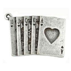 Carduri metalice pandantive 30x22x2 mm gaură 2 mm culoare argint -2 piese