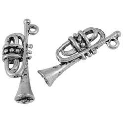 Висулка метална тромпет 22x8x4 мм дупка 1 мм цвят сребро -10 броя