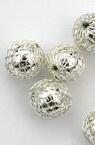 Мънисто месингова мрежа с топче CCB 11 мм цвят сребро -10 броя