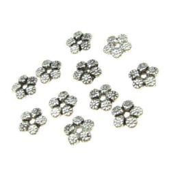 Margele metalica floare 7x2 mm gaură 1,5 mm culoare argintiu vechi -20 bucăți