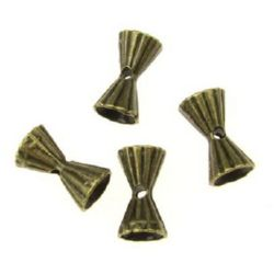 Metal bead in shape of two-way cone 12x7 mm hole 2 mm color antique bronze -10 pieces