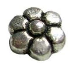 Мънисто метал 6.8x4.5 мм дупка 1 мм цвят сребро -10 броя