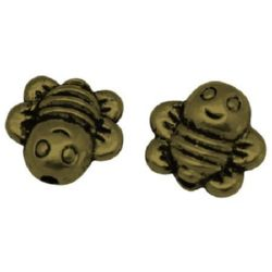 Bee shaped metal bead 9x9x4 mm hole 1 mm color chrome - 10 pieces