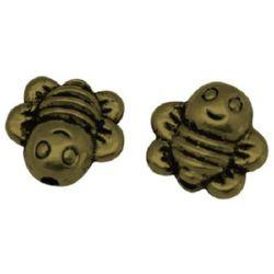 Margele metalica albină  9x9x4 mm gaură 1 mm culoare crom -10 bucăți