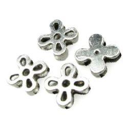 Мънисто метал цвете 13x13x4 мм с две дупки 10x2 мм и 2x2 мм цвят сребро -5 броя