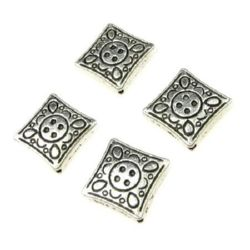 Engraved metal rhombus bead 16x16x4 mm hole 1 mm color old silver - 10 pieces