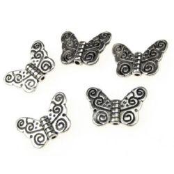 Margele metalica fluture 11x15x1,5 mm gaură 1,5 mm culoare argintiu vechi -10 bucăți