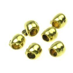 Margele metalica măr 8x11x8 mm gaură 4 mm culoare aur vechi -10 bucăți
