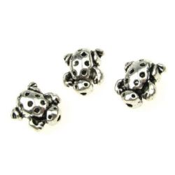 Metal bead, tiny turtle  13x12x8 mm hole 1 mm color old silver - 5 pieces