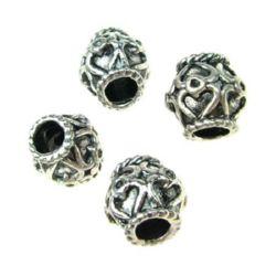 Мънисто метал цилиндър 10x10 мм дупка 5 мм цвят старо сребро -5 броя