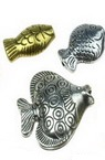 Assorted types and sizes fish shaped beads 8~33x7~15x1.5~4.5 mm hole 1~3mm  assorted color - 20 grams