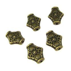 Мънисто метал ромб 15x12.5x4.5 мм дупка 1.5 мм цвят антик бронз -10 броя