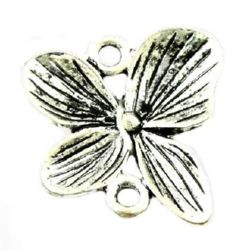 Свързващ елемент метал цвете 20x20x2 мм дупка 1.5 мм цвят сребро -5 броя