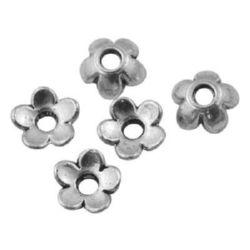 Καπελάκια χάντρας λουλούδι 6x6x2 mm μεταλλικά τρύπα 2mm χρώμα παλιό ασήμι -50 τεμάχια