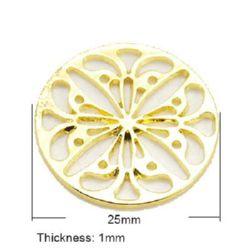 Метален елемент мандала 25x1 мм цвят злато -3 броя