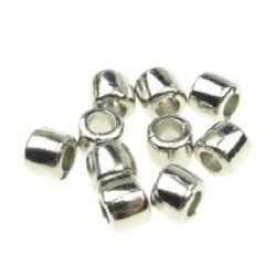 Margele cilindru metalic] 5x4 mm gaură 2,5 mm culoare argintiu -20 bucăți