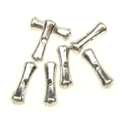 Metal rod shaped bead 12x3x3 mm hole 1 mm color silver - 20 pieces