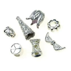Various shapes and sizes metal beads 9~15x3~13 mm hole 1~4mm color white - 20 grams