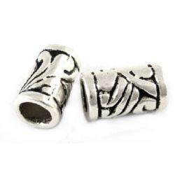 Margele cilindru metalic  11,5x7 mm gaură 4,5 mm culoare argintiu -10 bucăți