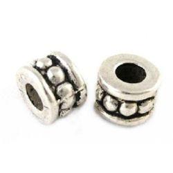 Мънисто метал цилиндър 6x4.5 мм дупка 3 мм цвят старо сребро -20 броя