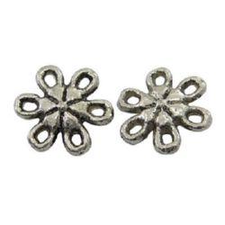 Margele floare metalică  9x9x3 mm gaură 1 mm culoare argint vechi -20 bucăți