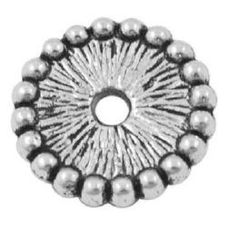 Мънисто метал шайба 12x2 мм дупка 2~2.5 мм цвят сребро -10 броя