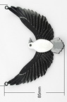 Painted metal eagle connecting element with crystal, glazed white 85x114x6 mm hole 3 mm
