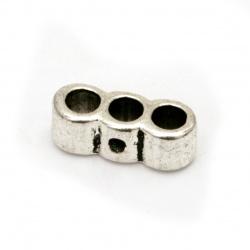 Разделител метал 5x14x5.5 мм дупка 3 мм цвят сребро -20 броя