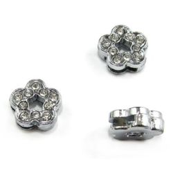 Flower metal bead with dazzling crystals for stringing 10 mm hole 8mm