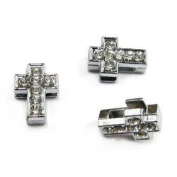 Pandativ Cristal  forma cruce metalic 10mm găuri 8mm
