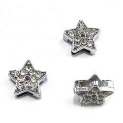Metal star with sparkling crystals for stringing 10 mm hole 8 mm
