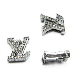 LV letters metal bead with small crystals for jewelry making 10 mm hole 8 mm