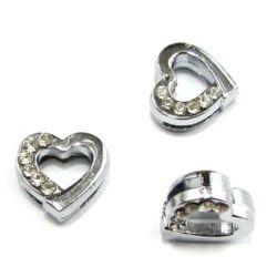 Сърце за нанизване метал кристали 10 мм дупка 8 мм
