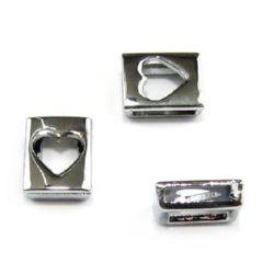 Сърце за нанизване метал 10 мм дупка 8 мм