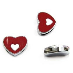 Heart for stringing metal 12 mm hole 8 mm