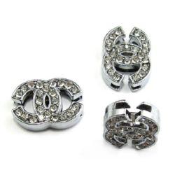 Лого за нанизване метал кристали 13x18 мм дупка 8 мм