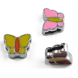 Painted metal butterfly bead, stringing element  mixed colors 11 mm hole 8 mm