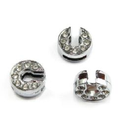 Metal element letter C for stringing with tiny crystals hole 8 mm