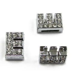 Jewelry components metal charm, beads connector letter E for stringing with crystals hole 8 mm