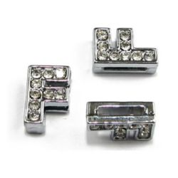 Jewelry metal element letter F for stringing metal with rhinestones  hole 8 mm