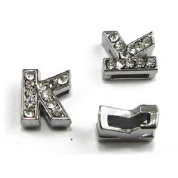 Metal element in the shape of letter K for stringing with rhinestones hole 8 mm