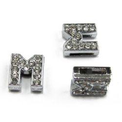 M χάντρα με στρας τρύπα 8 mm