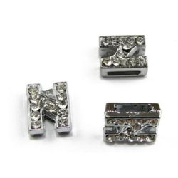 Jewelry components metal charm letter N for handmade bracelets or necklaces with crystals  hole 8 mm