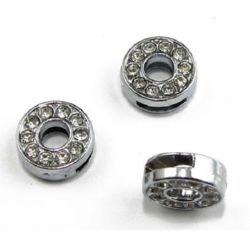Jewelry element, metal bead with rhinestones for handmade accessories in the shape of letter O hole 8 mm