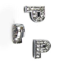 P χάντρα με στρας τρύπα 8 mm